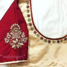 Simple yet elegant❤️ Designed by Hand Work Blouse Design, Simple Blouse Designs, Stylish Blouse Design, Fancy Blouse Designs, Bridal Blouse Designs, Simple Embroidery Designs, Embroidery Suits Design, Embroidery Blouses, Maggam Work Designs