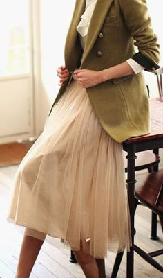 Tulle skirt + olive coat