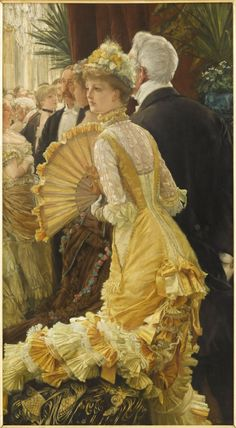 books0977:  Evening, also The Ball (c.1885). James Tissot (French, 1836-1902). Oil on canvas. Musée d'Orsay. Tissot depicts a young woman wearing a luxuriant yellow dress, arriving at a society event. The extreme femininity of the main character is emphasised through a skilful interplay of curves. Her wide fan, placed virtually in the centre of the painting, continues the curve of her shoulders. In the bottom left hand corner, her long train forms an impressive rising arabesque.