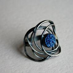 Blue Drusy Galaxy ring in oxidized silver.
