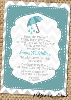 Umbrella Teal and Gray Chevron - Boy Baby Shower PRINTABLE Invitations.