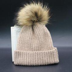 Which in shower real raccoon fur pompom children warm wool winter beanie hat kids boy girl knit fur cap with pom pom ball top