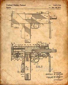 Mac-10 Uzi Patent Print - Patent Art Print - Patent Poster - Gun - Firearm - Weapon #vwconstellation Mac 10, Military Drawings, Free Adult Coloring, Gun Art, Patent Drawing, Concept Weapons, Patent Prints, Technical Drawing, Firearms