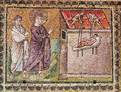 The Paralytic of Capharnaum is Lowered from the Roof, Scenes from the Life of Christ (mosaic). Byzantine School, (6th century). Sant'Apollinare Nuovo, Ravenna, Italy