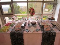 So Chic! A Candy Pink and Chocolate Brown Dessert Bar for a Baby Girl | Kosher Recipes and Jewish Table Settings