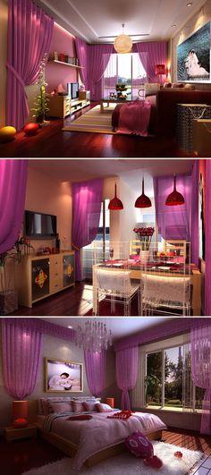 Korean Korean custom / Finished bedroom, living room purple powder color gradient series curtain screens special clearance