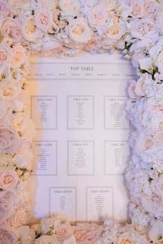 Floral Frame Seating Plan | Luxury Wedding at Aynhoe Park, Oxfordshire | Wedding Planner: Vanilla Rose Weddings, Oxford | Photography: Pippa MacKenzie