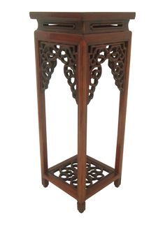 Ornate Vintage Chinese Rosewood Display Stand on Chairish.com