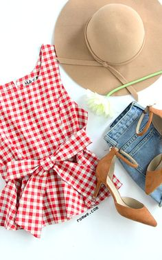 Red Checkerboard Self Tie Peplum Top More