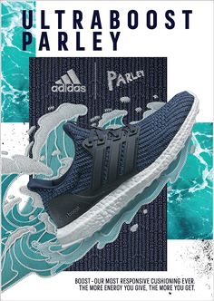 The print ads for the adidas x Parley UltraBoost sneakers invite runners to join a global movement to run for the oceans. Adidas Design, Shoe Advertising, Sports Advertising, Advertising Design, Advertising Campaign, Creative Shoes, Ads Creative, Creative Design, Sports Graphic Design