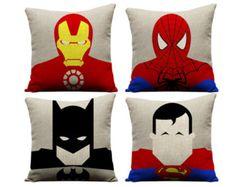 Set of 4 superhero pillows superman pillow by GEEKandtheCHIC. Pillows for Hugo's room. Batman Room, Superhero Room, Superhero Superman, Big Boy Bedrooms, Kids Bedroom, Bedroom Ideas, Batman Pillow, Sofa Throw Pillows, Cushions