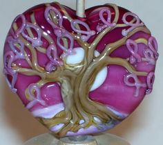 WSTGA~BREAST CANCER SURVIVOR~LIGHT TREE handmade lampwork focal glass bead SRA #WindSweptTreeGlassArt #Lampwork By Molly Cooley