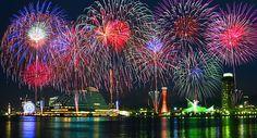 みなとこうべ海上花火大会(神戸花火大会)と神戸メリケンパーク・神戸ハーバーランドの夜景