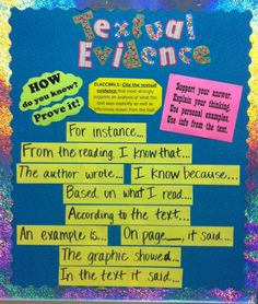 Textual evidence bulletin board- common core