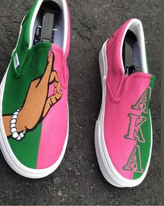 Custom Vans Slip Ons by Lxrd V Customs. Price includes sneaker, custom and shipping Customised Vans, Custom Vans Shoes, Mens Vans Shoes, Vans Men, Aka Sorority Gifts, Alpha Kappa Alpha Sorority, Sorority Fashion, Aka Apparel, Alpha Kappa Alpha Paraphernalia