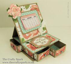 Desktop Calendar and Organiser with English Garden Designer Series Paper - Great Gift - The Crafty Spark