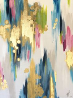 Garden Party 40x30 original abstract painting on high quality, 1.5 in thick, gallery wrapped canvas by HLWDesignShop on Etsy