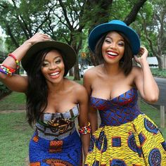South African Artist Thembi Seete and South African Actress Terry Pheto collaborated to take a series of photos in mixed ankara print outfits for Africa African Dresses For Women, African Print Dresses, African Attire, African Wear, African Women, African Prints, African Style, African Inspired Fashion, African Print Fashion