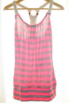 Pink and gray striped tank, with braided rope down the back. It runs a little bit on the small side.