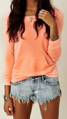 Fabulous Denim Short And Cute Top Fashion #Sweater