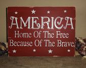 4th Fourth of July Independence Day Patriotic America Red White and Blue Sign Decoration. $30.00, via Etsy.