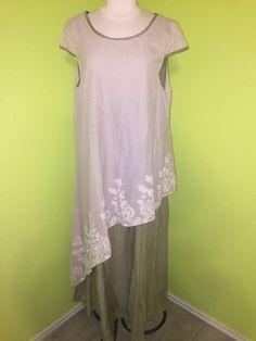 Women' Lagenlook Dress Sz XL Sage & Cream Shift Embroider Long  SS ZANZEA Modest #Zanzea #Casual
