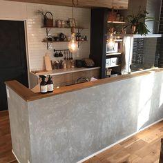Kitchen Dining, Kitchen Decor, Reception Desk Design, Japanese Kitchen, Diy Kitchen Storage, Kitchen Interior, Home Kitchens, Living Room Designs, Interior Design