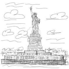 hand drawn illustration of famous tourist destination statue of liberty new york city usa. Stock Photo