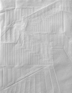 Beautiful folded paper crease art reliefs by simon schubert