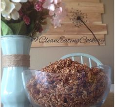 Low sugar, healthier granola! THE RECIPE 4 cups rolled oats 1 cup unsalted pecans 1 cup hulled sunflower seeds 1 cup sliced almonds 1 cup flax meal 1 cup flax seed 1 cup coconut oil 1/2 cup honey 1/4 cup agave 1/4 cup brown sugar 1 teaspoon salt 2 teaspoons cinnamon Preheat oven to 325. Mix dry ingredients in bowl. Heat wet ingredients in saucepan over medium heat until sugar is dissolved. Mix all ingredients until mixture is evenly coated. Bake for 20 minutes stirring halfway through.