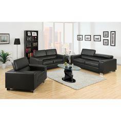 Furniture Of America Mazri 3 Piece Bonded Leather Sofa Set (Black)