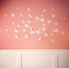 End Of The Year SALE 50 white 3D Bird Wall Art Circle by LeeShay, $32.00