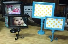 Spray painted frames on candlesticks!