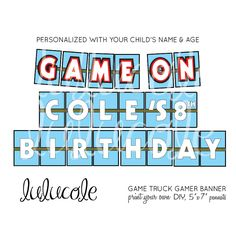 Blue, Red & Yellow GAME TRUCK Gamer Birthday Party Personalized Banner - Printable by lulucole on Etsy