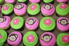 Pink Mod Monkey Cupcakes