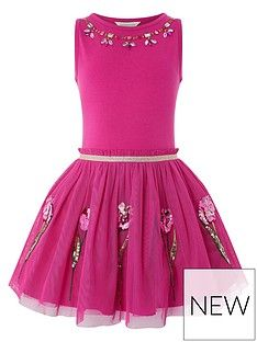 Buy Monsoon Disco Tulip Dress from the Next UK online shop Party Gowns For Kids, Kids Gown, Tulip Dress, Pink Dress, Girl Fashion, Fashion Dresses, Party Frocks, Girls Dresses, Formal Dresses