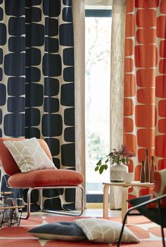 Go beyond basic white curtains with such colourful and pattern-heavy options for your living room. Retro Curtains, Printed Curtains, Modern Curtains, Colorful Curtains, White Curtains, Orla Kiely Curtains, Hall Curtains, Patterned Curtains, Curtain Patterns