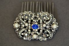 Bridal Hair comb, Something Blue, Crystal Hair Comb, Swarovski comb, Vintage Jewelry, Victorian, Wedding Accessories, Saphire Blue