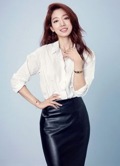 Photos of actress Park Shin-hye were revealed by the jewelry brand Agatha Paris on Monday. In the released photos, Park flaunts a posh look with a striped shirt, a black skirt and accessories, appearing chic. Park Shin Hye, Korean Beauty, Asian Beauty, The Heirs, Park Min Young, Beautiful Asian Women, Korean Actresses, Korean Women, Ulzzang Girl