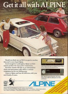 Early Alpine Car Hi~fi Alpine Audio, Alpine Car, Vintage Advertisements, Vintage Ads, Best Suv Cars, Sporty Suv, Firestone Tires, Hi Fi System, Suv Models