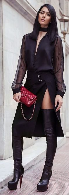 Pop Of Red On Black Outfit #highheelbootsskirt