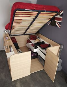 Space-Up Double Bed (Video) #diy, #furniture, #bed