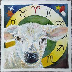 Zodiac mini Aries (c) watercolor by Frank Koebsch, 21 x 21 cm, $270; More information about the Zodiac can be found at http://frankkoebsch.wordpress.com/2011/08/19/sternzeichen-mini-widder-%C2%A9-aquarell-von-frank-koebsch/