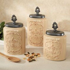 Artimino Fleur De Lis Canister Kitchens Kitchen Canisters And Tuscan Style