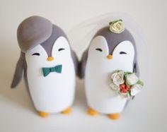 Penguins Wedding Cake Topper Penguin Winter by RusticWeddingDay