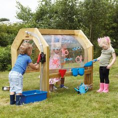 Outdoor Wooden Cascading Water Tunnel See the water cascade down the walls of th… Kids Outdoor Spaces, Kids Outdoor Play, Outdoor Play Areas, Outdoor Learning, Backyard For Kids, Outdoor Fun, Outdoor Activities, Backyard Games, Outdoor Games