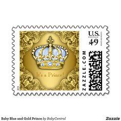 Baby Blue and Gold Prince Postage Stamps