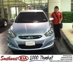 Thank you to Cristina Johnson on your new 2012 #Hyundai #Accent from Brandon Amendson and everyone at Southwest Kia Mesquite! #NewCarSmell
