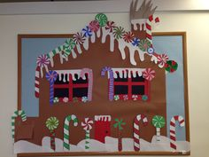 Gingerbread house candy Christmas bulletin board