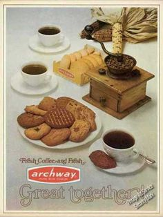 Archway ad for Home Style Cookies & Coffee (1971). Small cups and one cookie.